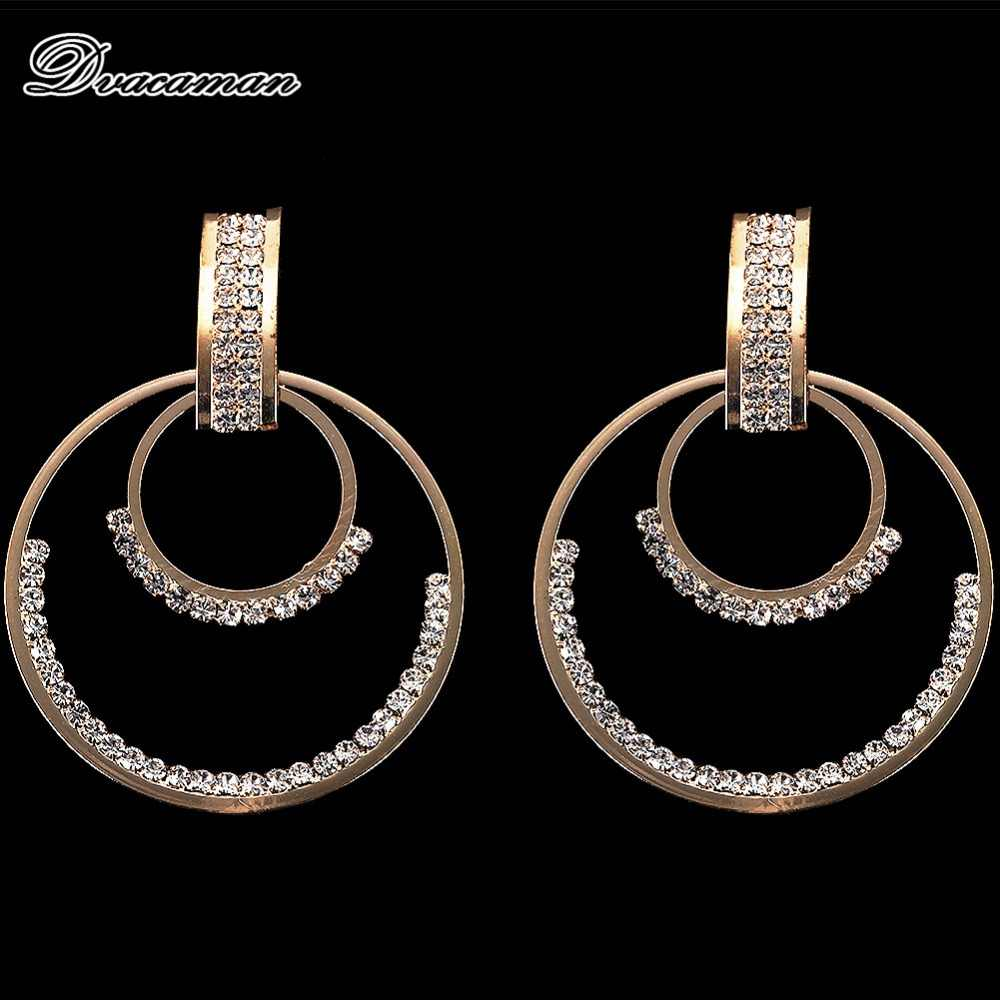 Dvacaman Multilayer Round Crystal Drop Earrings Women 2019 Fashion Metal Dangle Statement Earrings Wedding Party Gifts Jewelry