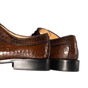 Image 4 - Zapatos Oxford de cuero genuino para hombre, calzado Formal de lujo con punta estrecha, a cuadros, para boda