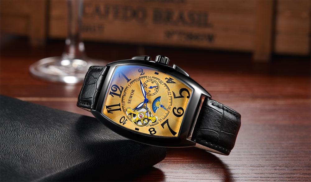 SEWOR New Black Gold Tonneau Tourbillon Automatic Mechanical Watch Men Genuine Leather Strap Men Clock Male Men Wristwatches