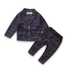 Nueva Llegada Ropa Niños Set Ropa de Inglaterra Caballero Boy Fiesta/Trajes de Boda Formal del Bebé A Cuadros Conjuntos YY0833