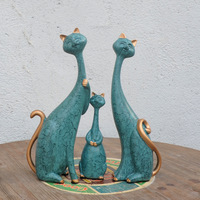 3 teile/satz Katzen Statue Tier EINE Familie Von Drei Harz Kunsthandwerk Cafe Home Dekoration Hochzeit Geschenk L3052|Statuen & Skulpturen|Heim und Garten -