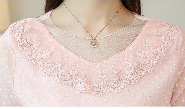 2018 fashion sweet pink summer tops chiffon blouse women shirt short sleeve hollow lace shirt women's clothing blusas 0132 30