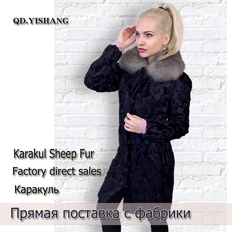 Réel black Withfox Manteau Col Fourrure Moutons 2019 Le Nouveau Black Karakul De 7qw01g6