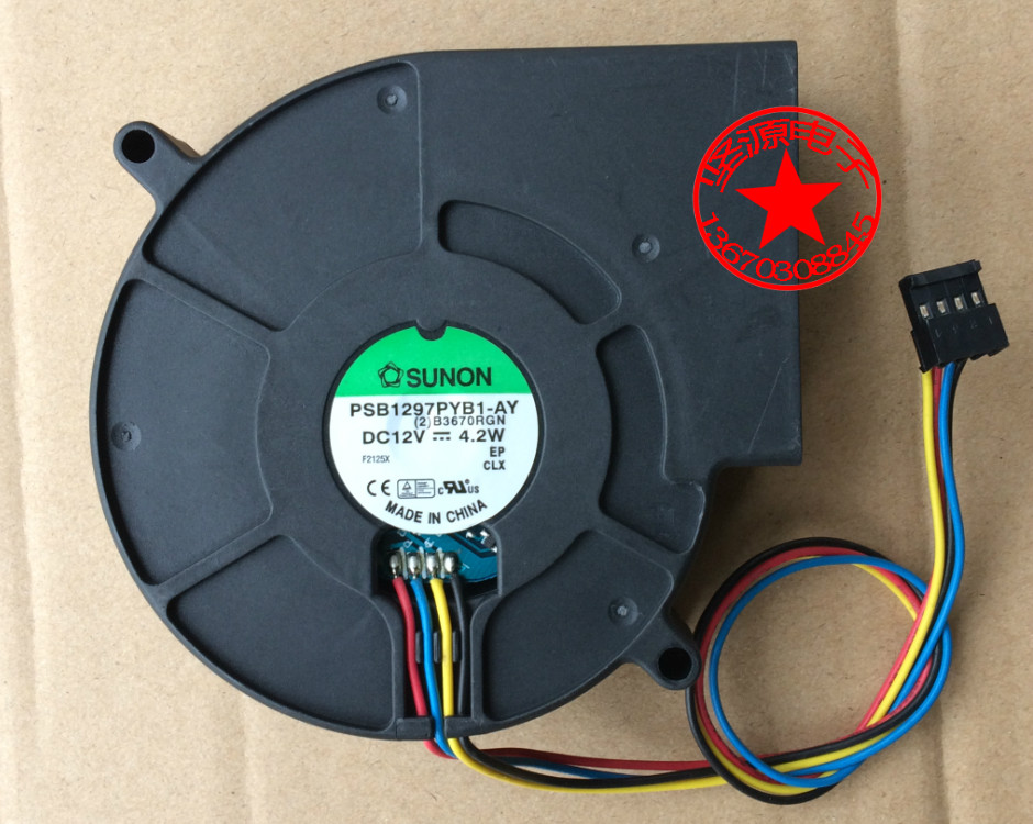 Original SUNON 9733 9CM 12V 4.2W PSB1297PYB1-AY blower fan Can be used for the graphics card power supply chassis qqv6 aluminum alloy 11 blade cooling fan for graphics card silver 12cm