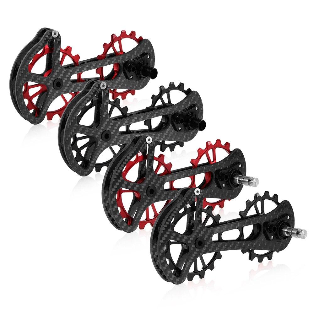 16 т Велосипедный спорт Керамика Подшипник жокей шкив колеса комплект углерода волокно ЧПУ сзади направляющая переключателя скоростей для ...