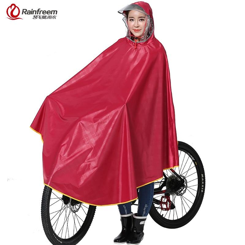 Rainfreem Impermeable Impermeable Mujeres/Hombres Gruesa Bicicleta Poncho de Lluvia A Cuadros Oxford/Tejer Jacquard Mujeres ropa de Lluvia Impermeable