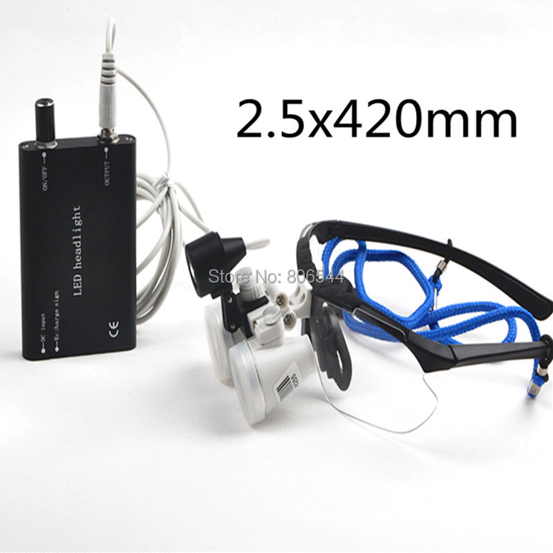 Brand New Black Dentist Dental Surgical Medical Binocular Loupes 2.5X 420mm Optical Glass Loupe + Led head light lamp 188028-1