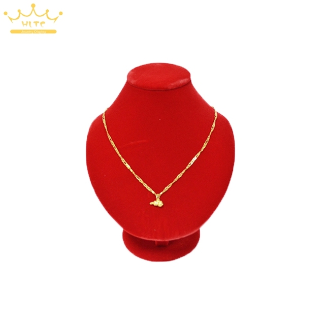 Quality Red Velvet Gold Necklace Portrait Pendant Display Rack Jewelry Neckform Dispaly Stand