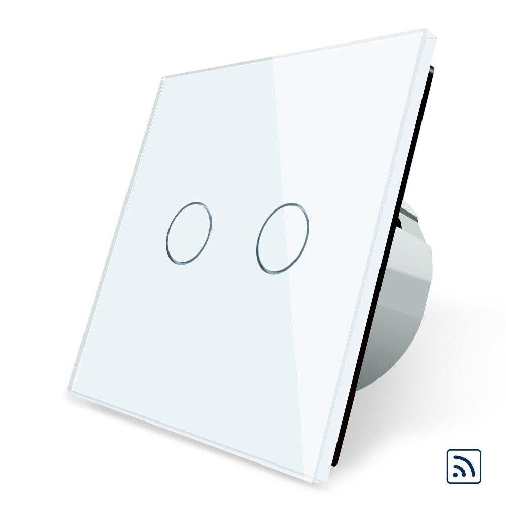 Smart Switch, noir Panneau Verre Cristal, 2017 Standard de L'UE Interrupteur À Distance, 220 ~ 250 V Mur Light Touch Commutateur À Distance