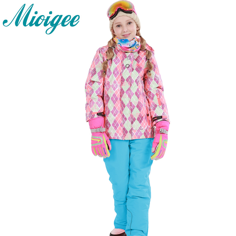 Mioigee 2017 Girls Ski Sets Winter Waterproof Windproof Kids Ski Jacket Children Outdoor Warm Hooded Snowboard Sports Suits Chil недорого