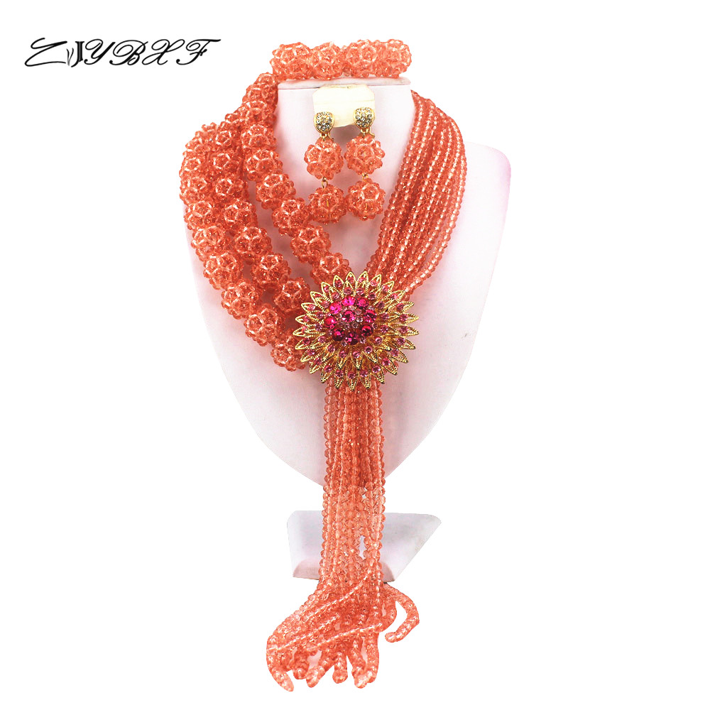 Fashion Crystal Ball Costume Jewellery Nigerian Wedding African Beads Jewelry Sets    HD0866