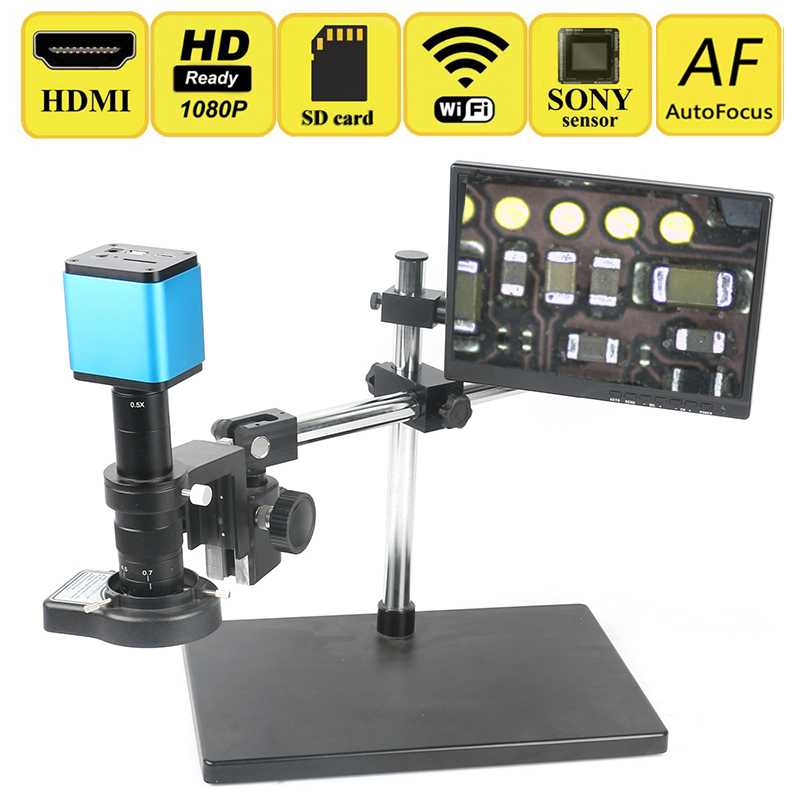 AutoFocus Sony IMX185 Sensore a infrarossi Regolabile 180X HDMI WIFI Industriale Video Camera Microscopio Set Laboratorio PCB CPU Sistema di Lavoro di Saldatura