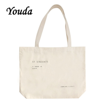 Youda New Thin Canvas Bag Simple Letter Shoulder Bags Large Capacity Korean Style Shopping Tote Fashion Handbag