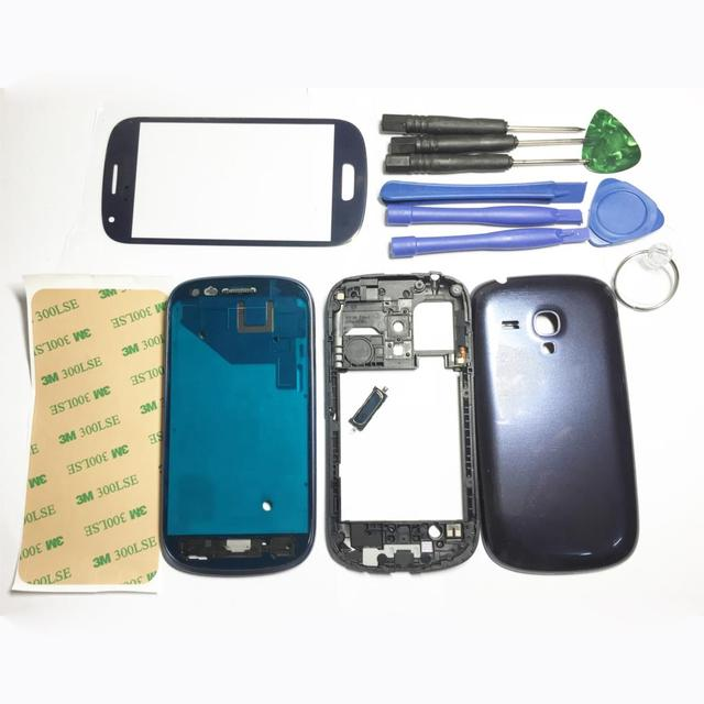 Синий/Белый Передний/Ближний Кадров Полный Крышку Корпуса Чехол + Кнопки Ассамблеи с Логотипом Для Samsung Galaxy S3 mini i8190