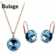 Bulage Original Crystals From SWAROVSKI Bella Jewelry Sets Round Pendant Necklaces Piercing Earrings For Women Wedding joyashiny crystals from swarovski classic romantic heart pendant necklaces drop earrings jewelry sets for women lovers gift