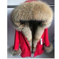2018 Женская мода большой реальный Лисий воротник, манжеты пальто натуральный мех енота Меховая подкладка зимние толстые теплые парки куртка