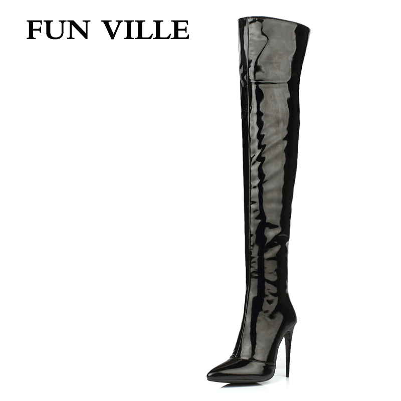 FUN VILLE 2017 New Fashion Sexy Women Over the knee Boots High Heel patent leather + pu Pointed toe Lady botas shoes size 34-43 women in the summer of 2018 the new patent leather nude wedges pointed toe pump work shoes leisure women plus size 35 40 a23