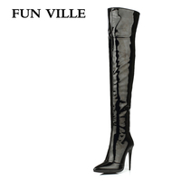 FUN VILLE 2017 New Fashion Sexy Women Over the knee Boots High Heel patent leather + pu Pointed toe Lady botas shoes size 34 43