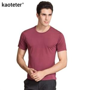 100% чистый шелк мужская футболка, высокое качество, с коротким рукавом, с круглым вырезом, повседневная, дикая, однотонная, 6 цветов, футболка, ...