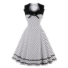 Large size S-4XL Women's 2018 New Retro Dress 20th Century 50 Sleeveless Square Polka Dot Dress Sexy Fashion Slim Party Dress(China)