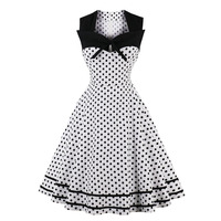 Large size S 4XL Women's 2018 New Retro Dress 20th Century 50 Sleeveless Square Polka Dot Dress Sexy Fashion Slim Party Dress
