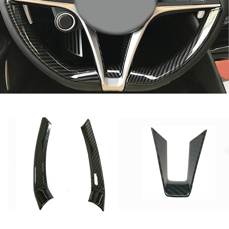 Carbon fiber car styling steering wheel frame trim sticker decoration strip sticker accessories for Alfa Romeo Stelvio Giulia auto car styling carbon fiber steering wheel sticker decoration frame trim steering wheel button cover for honda civic 2016 2017