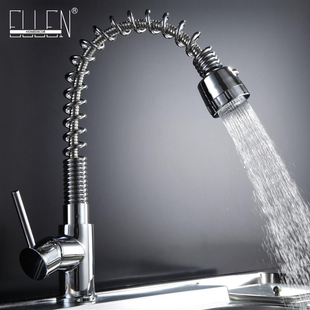 kitchen sink tap pull out solid brass kitchen mixer single handle chrome modern kitchen faucet free shipping high quality chrome brass kitchen faucet single handle sink mixer tap pull put sprayer swivel spout faucet