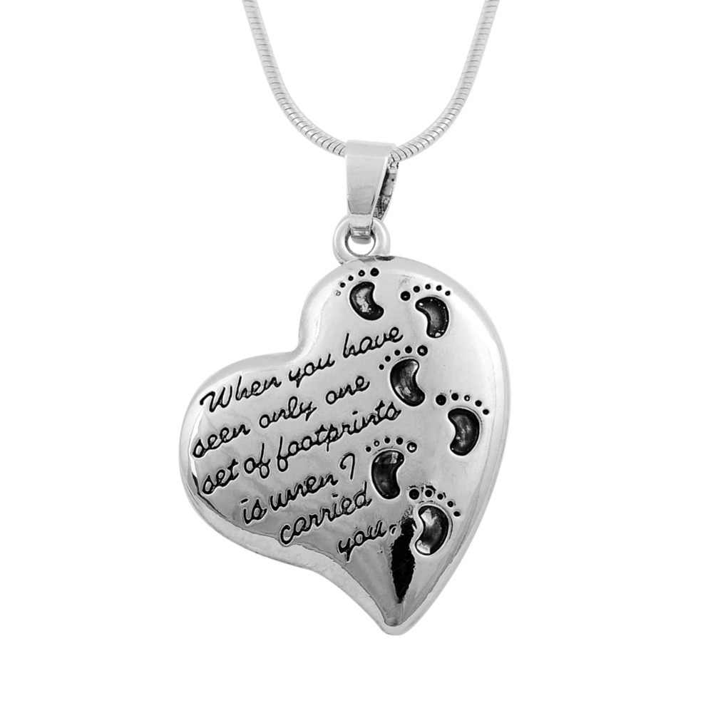 My Shape Vintage Heart Shaped Footprints Pendant Necklace Baby Child Feet Family Jewelry Lead Free Nickel Free