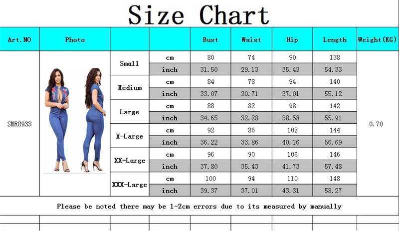 Women Rompers Deep S V Sexy Cap Size Sleeve Neck Jeans Plus Rose Floral 3xl Blue Jumpsuit Jumpsuits Adogirl Embroidery Bandage qPwUIP