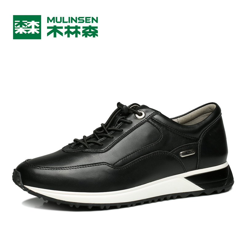 ФОТО MuLinSen Men's Sports Running Shoes black Genuine Leather Sport Shoes Wear Non-slip Outdoor Traning Sneaker 260107