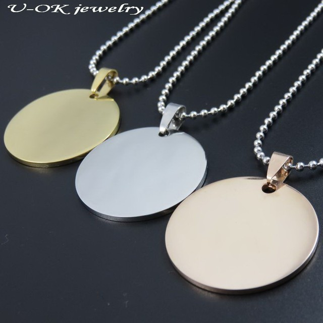 09b1a06e2bd Gold-color/Rose Gold Color 316L Stainless Steel Round Dog Tags Pendant  Stainless Steel Silver Dog Tags Necklace Fashion Jewelry