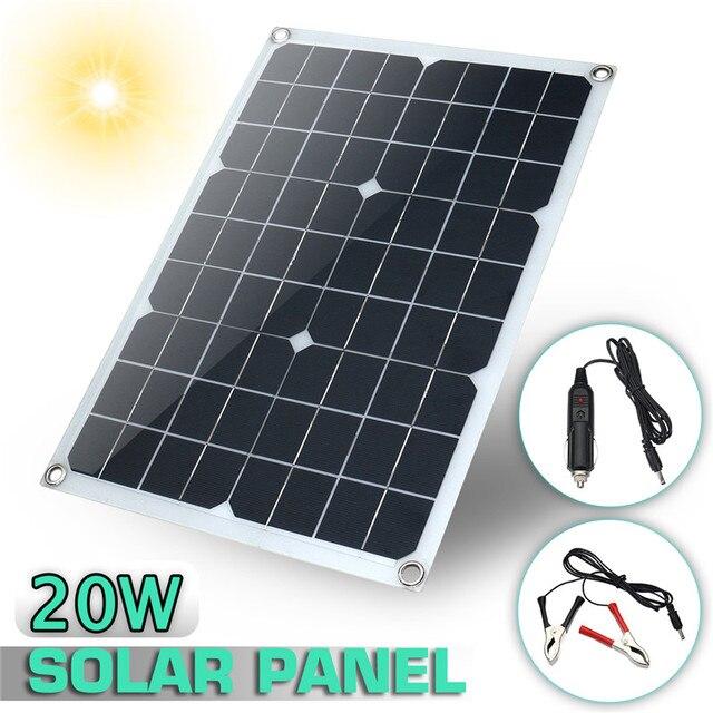 20 Вт 12 В/5 В водостойкий Солнечная батарея с usb-разъемом монокристаллическая солнечная панель автомобильное зарядное устройство для наружного кемпинга аварийное освещение