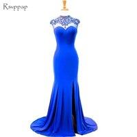 Stunning Long Evening Dress 2017 Mermaid High Neck Beaded Back African Women Party Royal Blue Formal