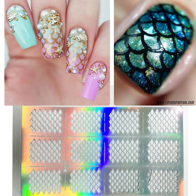 Mermaid Nails Design New Nail Vinyls Hollow Irregular Grid Stencil Reusable Manicure Stickers Stamping Template