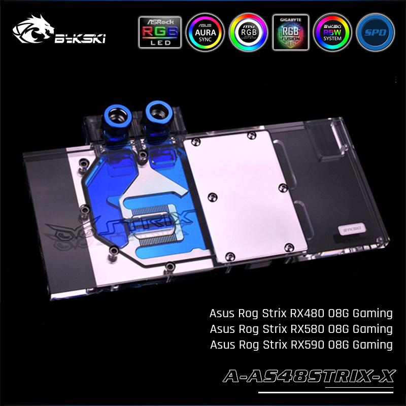Bykski A AS48STRIX X 、フルカバーグラフィックスカードの水冷ブロック asus ROG STRIX RX480 O8G Gaming  グループ上の パソコン & オフィス からの ファン & 冷却 の中 1