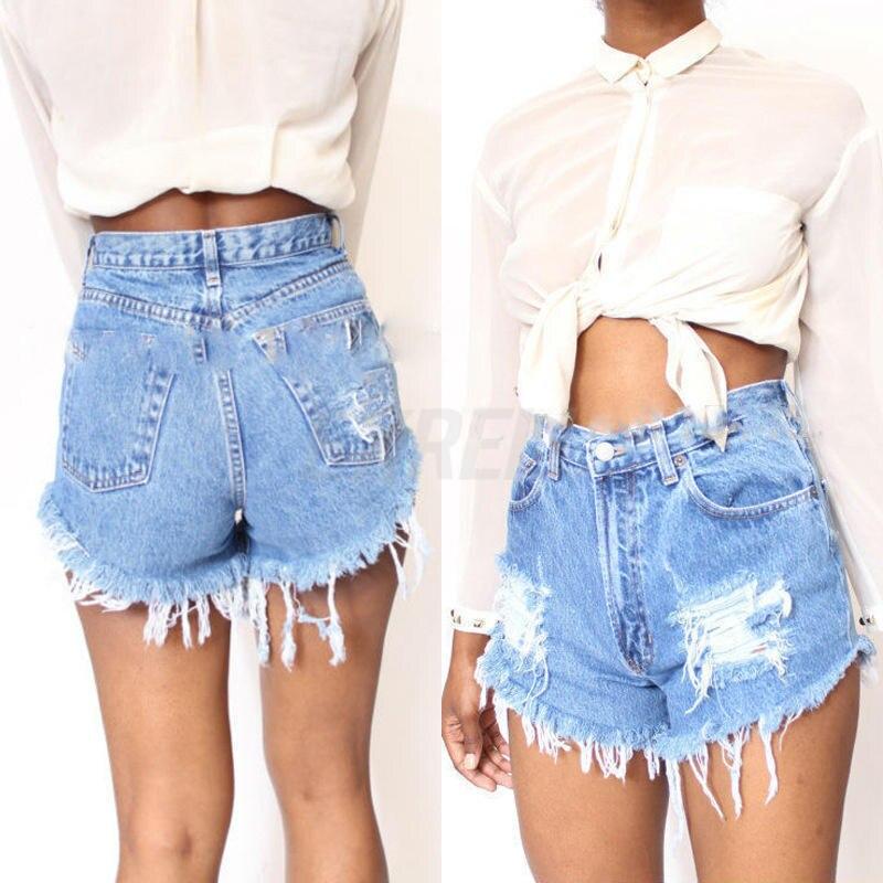 2017 Fashion Summer Women Casual High Waist Vintage Jeans Hole   Short   Jeans Denim   Shorts