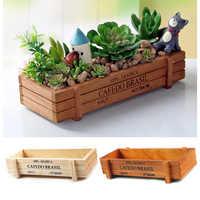 Vintage Wood Doniczka Garden Flower Planter Succulent Pot Rectangle Trough Box Plant Bed original wood color storage box maceta