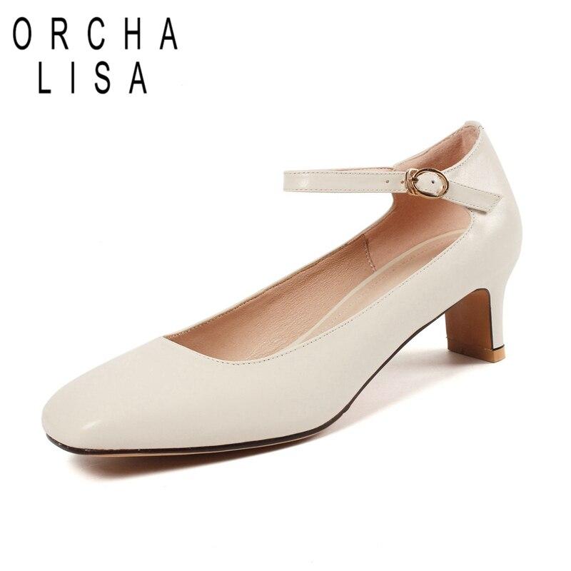 ORCHA LISA escarpins à talons courts pour femmes marque dames OL bout carré chaussures à talons bas en cuir véritable pompe Beige C996
