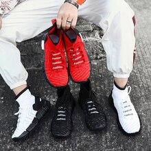 Тянущийся носок обувь мужская Fly кроссовки мужская обувь черный белый красный смешанные цвета для мужчин повседневная обувь плюс размер 46
