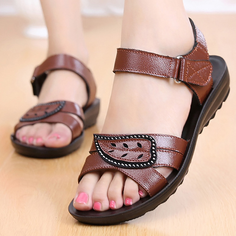 Ladies sandals wedges shoes for women 2018 summer fashion hook loop genuine leather shoes woman sandals plus size 35-41 capputine new summer sandals woman shoes 2017 fashion african casual sandals for ladies free shipping size 37 43 abs1115