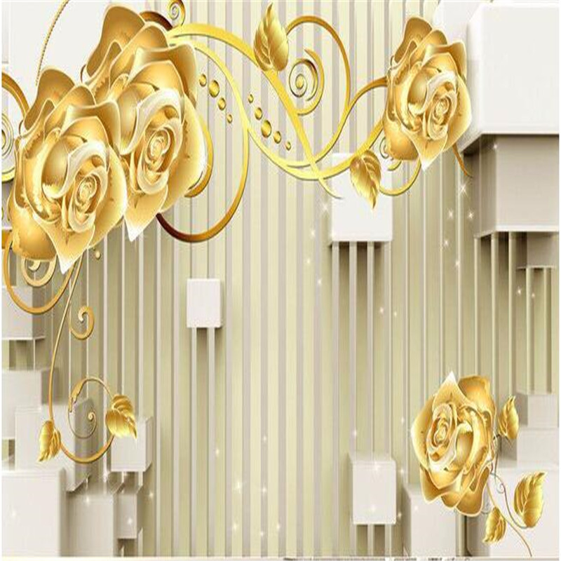Beibehang Photo Wall Mural Wallpaper 3d Luxury Quality Hd Gold Rose