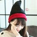 Симпатичные Корейской Моды КОНТРАСТНОСТЬ ЦВЕТ Керлинг Осень Зима Теплая 100% Ручной Вязки Шляпа Женщины Шапочка