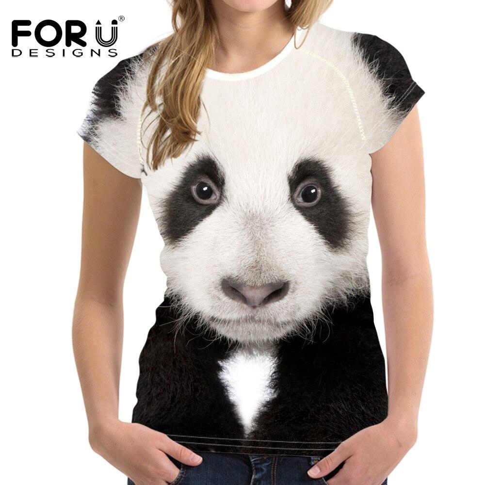 FORUDESIGNS 3D Animals Kawaii Panda Printed Women T Shirt Fashion Female Clothes Tops Ladies Short Sleeve T-Shirt Mujer Tshirts