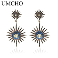 UMCHO Colorful Bohemia Drop Earrings 925 Sterling Silver Fine Jewelry Vintage Silver Abstract Earrings For Woman