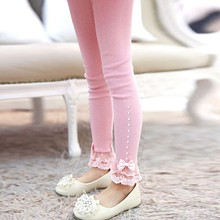 Children Girls Princess Legging Spring Autumn Trim Lace Pleated Rhinestones Leggings Cotton Pants