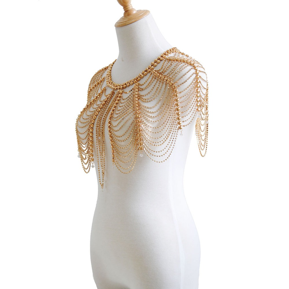 Sexy hooded tassel body chain Fashion simple rhinestone necklace silver gold Shoulder body decoration jewelry Stage necklace in Body Jewelry from Jewelry Accessories