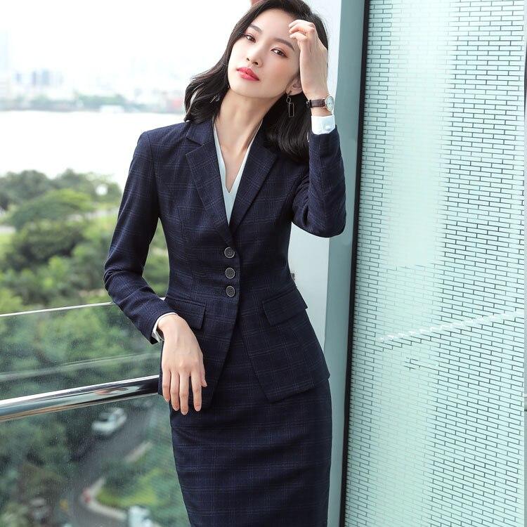 e0fcfffe6f 2019 Summer Formal Elegant Women's Blue Plaid Pants Blazer Trouser Suits  office Ladies Jacket suit 2Piece sets tops and blouses