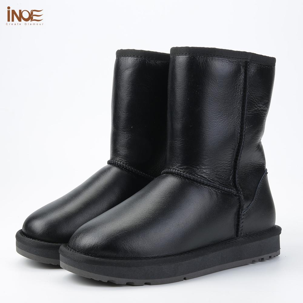 INOE Classic Men Mid calf Sheepskin Leather Snow Boots Shearling Wool Fur Lined Winter Boots Keep