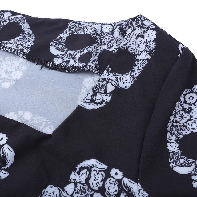 Long Flare Sleeve Square Collar Sugar Skull Print Halloween Party Maxi Dress