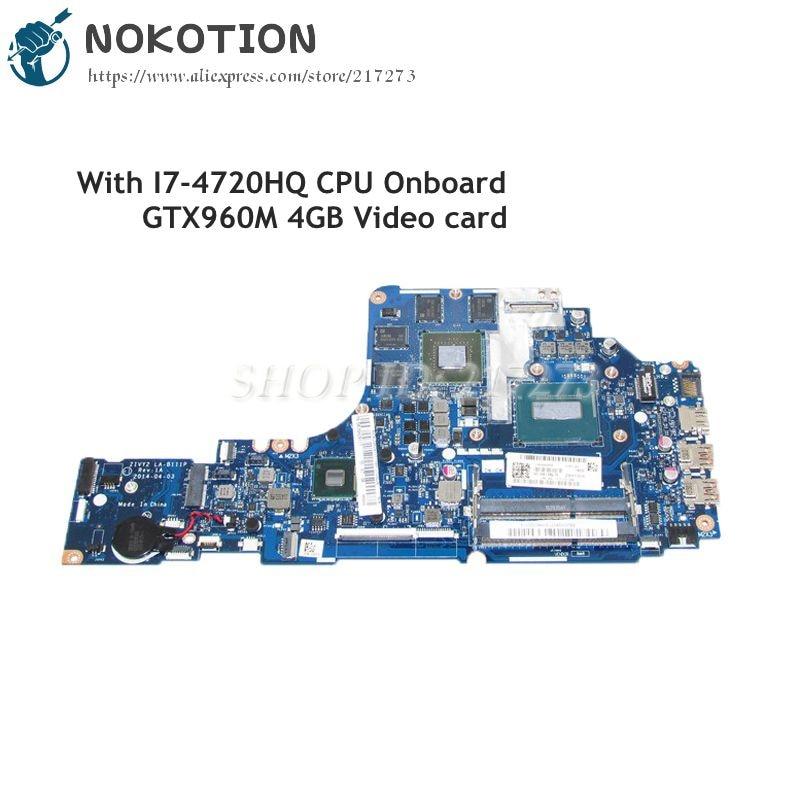 NOKOTION PC Motherboard For Lenovo ideapad Y70-70 17.3 Inch ZIVY2 LA-B111P MAIN BOARD I7-4720HQ CPU GTX960M 4GB Video card